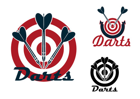 sporting: Darts sporting emblems design with red dartboards and darts arrows isolated on white background Illustration