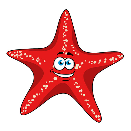 Happy tropical bright red starfish cartoon character with white spots. Isolated on white background for underwater wildlife or nature design