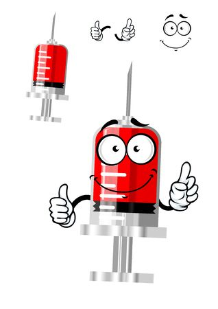 flu shot: Medical happy syringe cartoon character with red medication, blood or vaccine for medicine or vaccination concept design