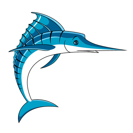 marline: Jumping blue marlin fish with curled tail and open spear shaped bill in cartoon style,  for fishing or seafood design