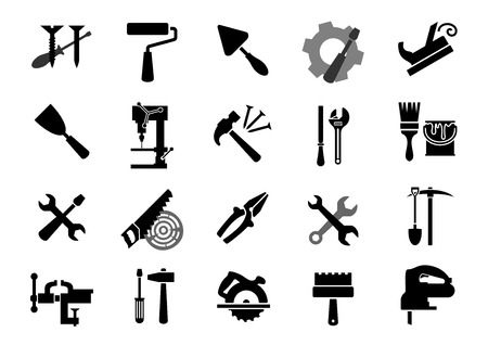 miter: Black icons of of screwdrivers, wrench, paint roller and brush, trowel, jack plane, hammer, pliers, saw, rasp, drill press, pickaxe, shovel, vice, miter saw, spatulas, fretsaw