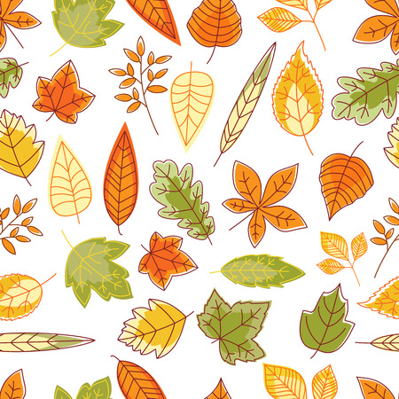 leafage: Seamless pattern with outline abstract red, orange, yellow and green autumn leaves