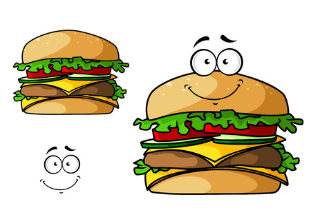 cheddar: Fast food cheeseburger cartoon character with meat, cheddar, onions, tomatoes, lettuce leaves. For takeaway food menu design Illustration