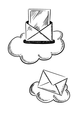 sealed: E-mail symbols show clouds with mailbox slot and opened letter, and with sealed mail envelope. Sketch style