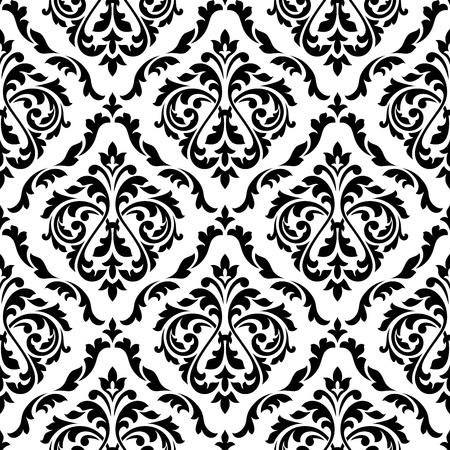 Black and white damask floral seamless pattern with elegant flower buds. For wallpaper and background design Çizim