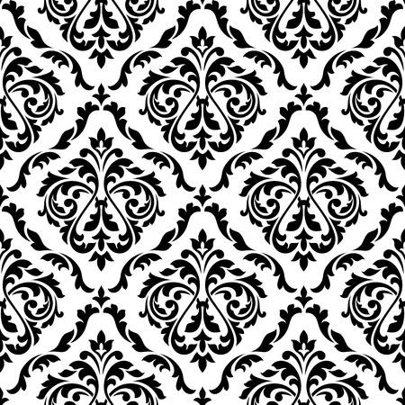 arabesco: Modelo inconsútil del damasco floral blanco y negro con elegantes botones de las flores. Para fondo de pantalla de fondo de diseño Vectores