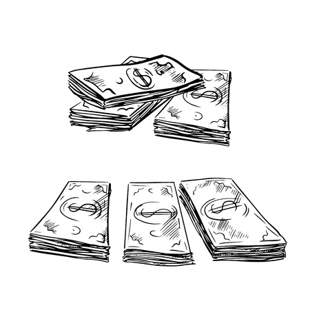 banking concept: Stacks of dollar bills in sketch style, isolated on white,  for financial or banking concept design