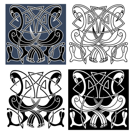 Ornamental heron birds with curved tails and wings decorated by traditional celtic knot patterns, for tattoo or medieval embellishment design Illustration