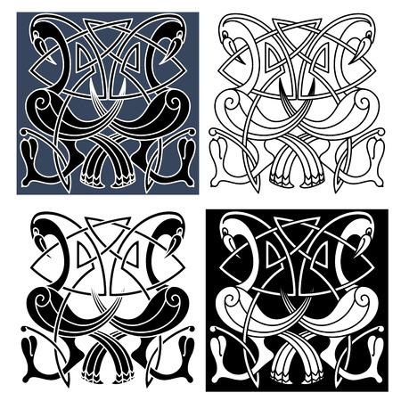 keltische muster: Zier Reiher Vögel mit gebogenem Schwanz und Flügel von traditioneller keltischer Knotenmustern verziert, für Tattoo oder mittelalterliche Verzierung Design
