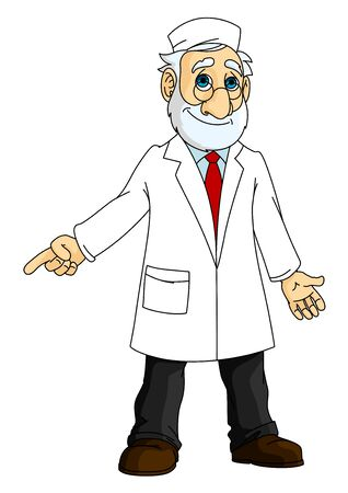 mature: Cartoon mature bearded doctor in glasses and white medical coat and cap pointing finger away, for healthcare or medicine design Illustration
