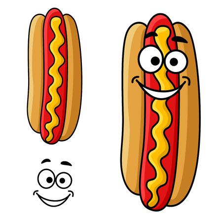 perro caliente: Comida rápida perro caliente personaje de dibujos animados con salsa de mostaza y la cara sonriente feliz, para el diseño de comida para llevar