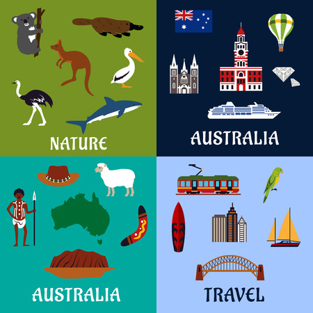australian flag: Australia travel symbols and icons in flat style with national flag, map, landmarks, surfboard and yachts, boomerang, aboriginal, unique nature and rare animals Illustration