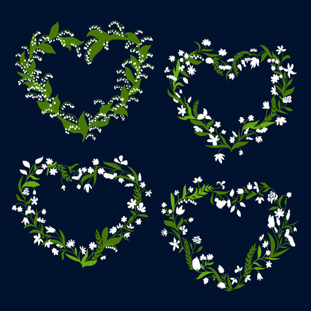 Floral heart frames and borders with white field flowers, roses, lilies of the valley, daisies and green herb twigs on dark background