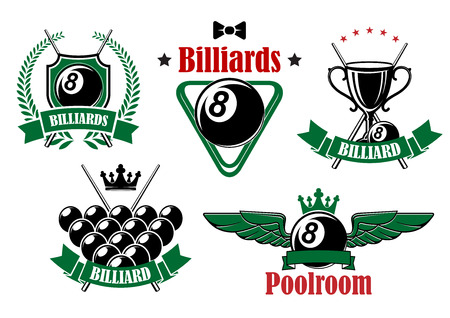 cues: Billiards and poolroom icons with black balls, crossed cues, trophy cup and triangle rack adorned by stars, wings, crowns, wreath and ribbon banners