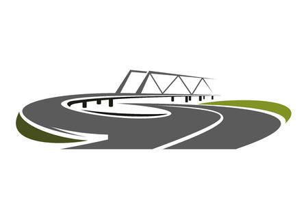 car speed: Modern road bridge above speed highway with green roadsides. For transportation or car trip design Illustration