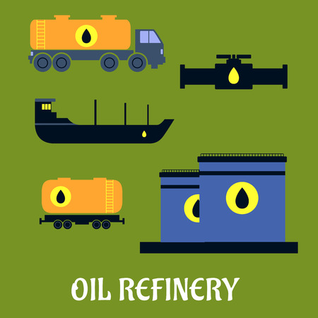 car pollution: Oil industry concept for storage and transportation icons with tankers, pump, truck and tank icons Illustration