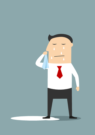 crying: Crying businessman standing in a pool of his tears, for depression or negative emotions concept. Cartoon flat style