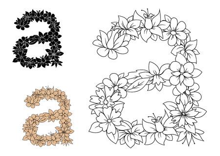 Isolé minuscules floral lettre a avec des fleurs, des herbes et des feuilles. Style rétro