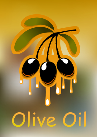 dripping: Olive tree branch with black olive fruits and dripping golden oil over blurred background, for agriculture or vegetarian food design