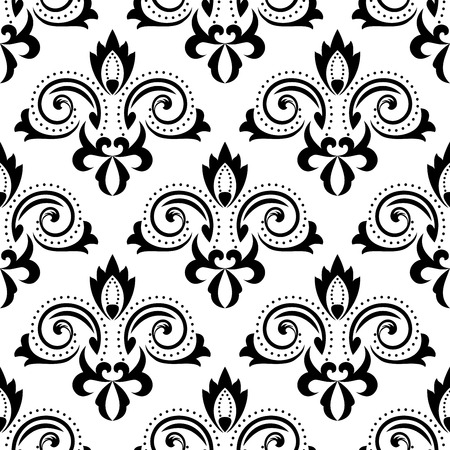 curlicues: Abstract floral seamless pattern with black flourish curlicues and leaves scrolls on white background, for wallpaper or textile design