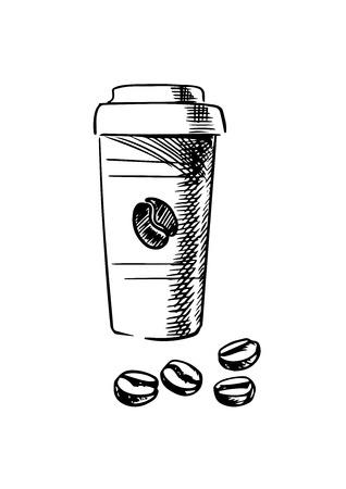 taza cafe: La taza de caf� para llevar con granos de caf� tostado aislados en fondo blanco, estilo de dibujo Vectores
