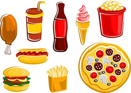 ファーストフードのフライド ポテト、ハンバーガー、ホットドッグ、フライド チキンの足、ピザ、ポップコーン バケツ、ボトル、ソーダ、アイス
