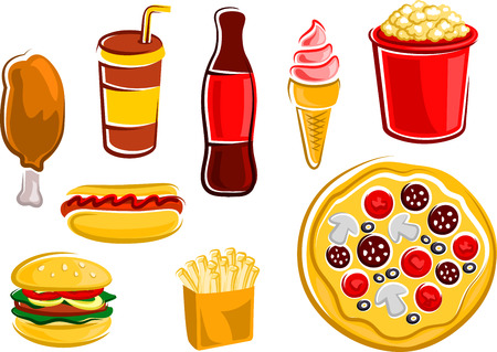 soda: Fast food french fries, hamburger, hot dog, fried chicken leg, pizza, popcorn bucket, bottle and takeaway cup of soda, ice cream cone Illustration