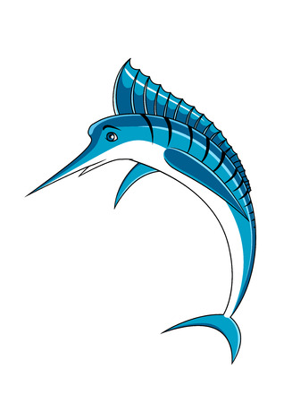blue and white: Atlantic blue marlin fish character with long dorsal fin crest and black strips, for seafood or fishing sports design