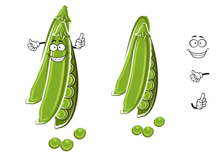 ejotes: Personaje de dibujos animados feliz fresco guisantes con vaina abierto, para la comida vegetariana saludable o el diseño de la agricultura