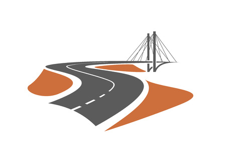 bridge in nature: Road leading to the cable-stayed bridge, for transportation or emblem design Illustration