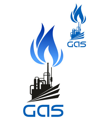 Natural gas industrial processing and distribution icon with plant machinery, pipelines, flare stack and blue flame isolated on white background Illustration