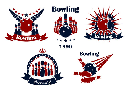 bowling pin: Bowling game retro icons or emblems with strike, balls, ninepins, wings, stars, rays, crown and ribbon banners