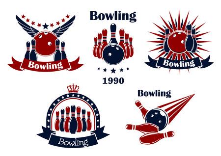 bolos: Bowling juego iconos retro o emblemas con huelgas, bolas, ninepins, alas, estrellas, rayas, corona y cinta banners Vectores