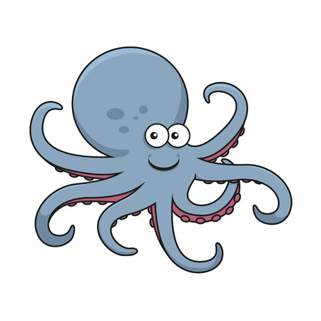 Blue octopus cartoon character with big round head and curved tentacles with pink suckers, for underwater wildlife or mascot design
