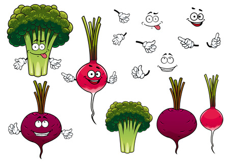 Cartoon green broccoli, crunchy radish and juicy beet vegetables characters, for agriculture or healthy vegetarian food design