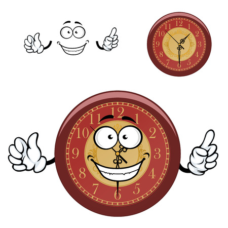 clock cartoon: Brown wall clock cartoon character with golden ornament on dial and carved hands showing attention sign