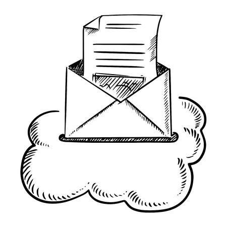 envelopes: Open envelope of e-mail letter with mailbox slot in a cloud , isolated on white background. Sketch style Illustration