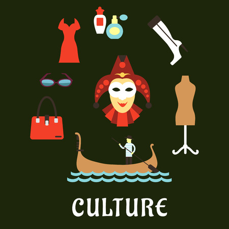 gondolier: Italian culture, travel and fashion flat symbols with venetian gondolier in a gondola, masquerade mask, vintage mannequin on stand, glasses, perfumes, elegant woman boots, bag and red dress Illustration