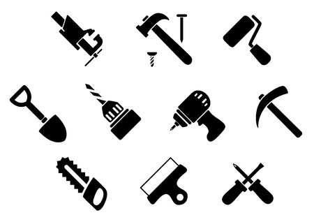 hand shovel: Hammer with nails, crossed screwdrivers, handsaw, shovel, paint roller, bench vice, drill, wide spatula, hammer drill and pickaxe icons Illustration