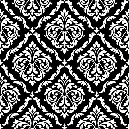 abstract seamless: White foliage damask seamless pattern with victorian leaf scrolls, decorated flower buds on black background for luxury wallpaper or interior accessories design