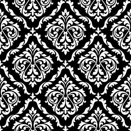Wit blad damast naadloze patroon met Victoriaanse bladrollen, versierd bloemknoppen op een zwarte achtergrond voor luxe behang of interieuraccessoires ontwerp