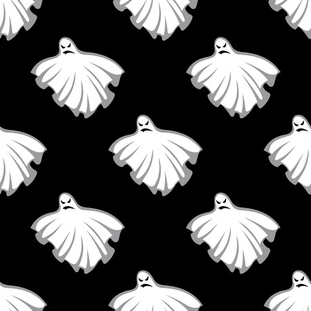 eerie: Flying eerie Halloween ghosts seamless pattern on black background, for holiday design Illustration