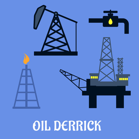 derrick: Oil derrick and mining concept with a flat icons of mine head, pipeline refinery and sea oil platform