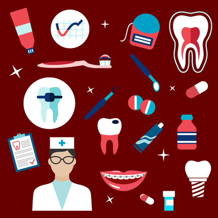 woman hygiene protection: Dentistry flat icons with dentist, healthy tooth cross section, carious tooth, implant, dental mirror and probe, pills, toothbrush and paste, floss, braces, medication