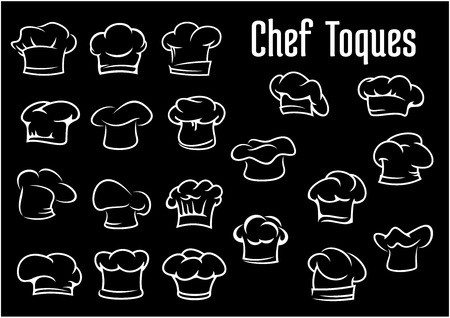 cook hats: De cocinero sombreros, gorras iconos toques ot aislados sobre fondo negro para el restaurante o cafeter�a de dise�o Vectores