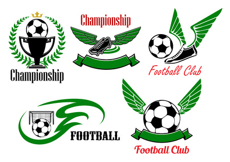 championship: Football club or championship icons with soccer balls, winged shoes, trophy cup and gate, decorated by laurel wreath, crown, tribal flame and ribbon banners