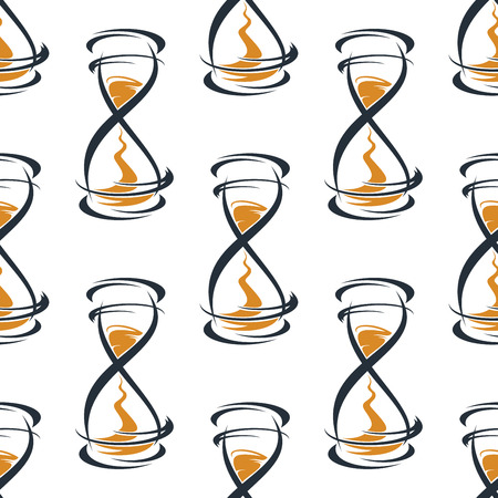 hourglasses: Seamless pattern with abstract vintage hourglasses on white background Illustration