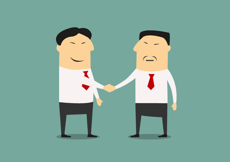 business meeting asian: Handshake of two asian businessmen. Cartoon style, for business and partnership concept design
