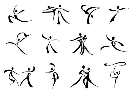 taniec: Dancing ludzi abstrakcyjne czarna sylwetka składa się z curling wstążki dla projektu sportowych lub rozrywkowych