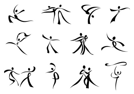 dancing silhouettes: Dancing people abstract black silhouette composed of curling ribbons for sporting or entertainment design